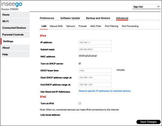 5G Home system settings Advanced LAN settings