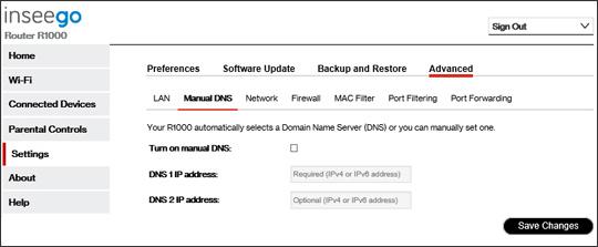 5G Home system settings Advanced manual DNS settings
