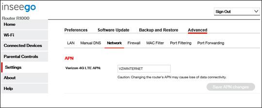 5G Home system settings Advanced APN settings