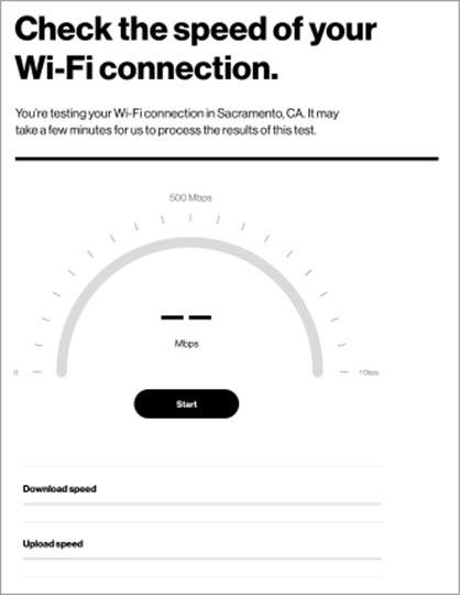 5G Home Wi-Fi speed test