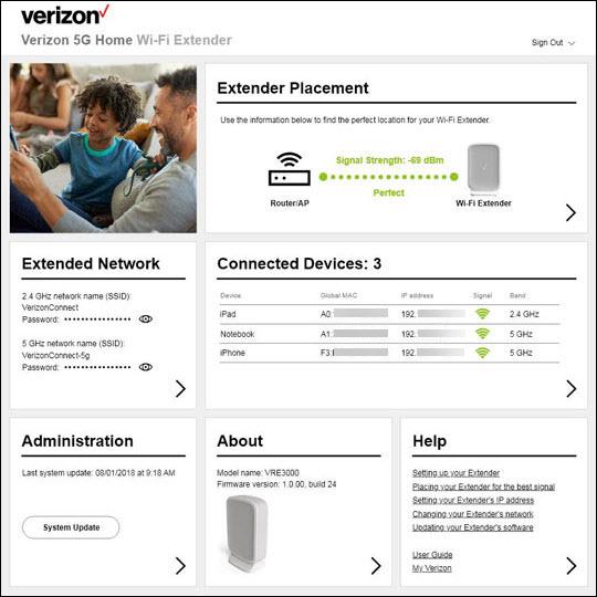 Verizon 5G Home Wi-Fi Extender Home screen