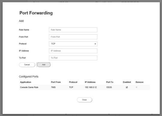 Router Port Forwarding screen
