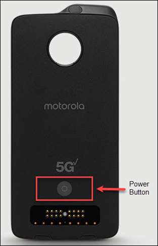 moto mod with emphasis on Power button