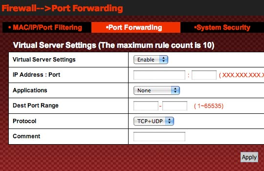 Virtual Server Settings