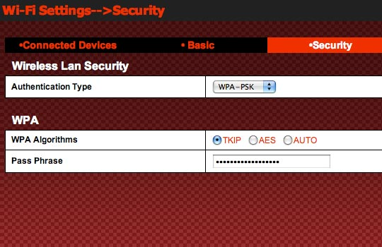 WPA Authentication Settings