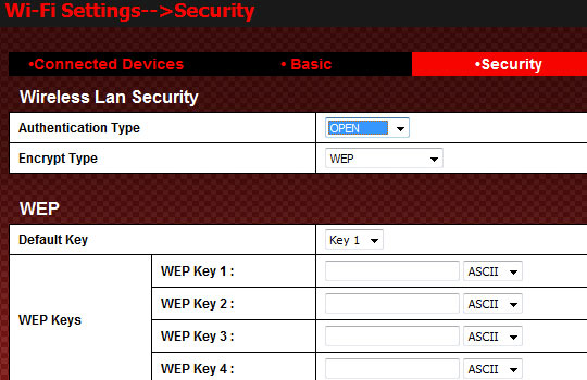 WEP Open Authentication Settings