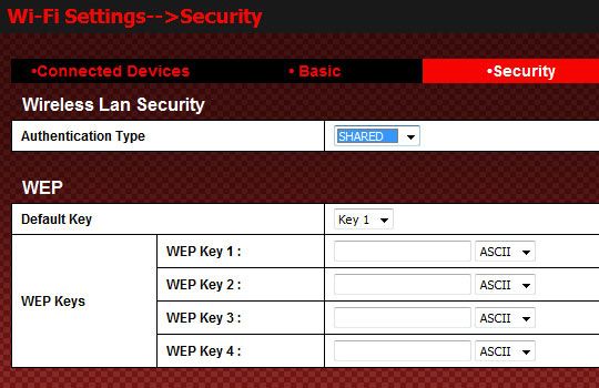 WEP Shared Authentication Settings