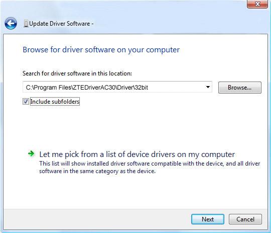 Pantalla 2 del software de actualización del controlador