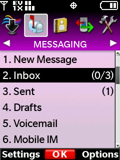 Messaging menu with focus on inbox