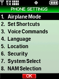 Phone settings menu with focus on airplane mode