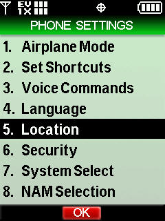Phone settings menu with focus on Location