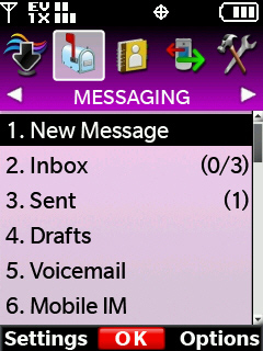Messaging menu with focus on new message