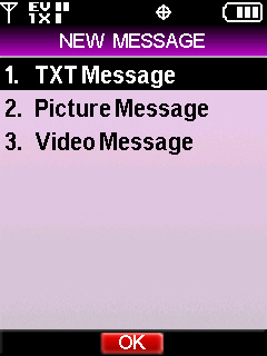 New message menu with focus on text message