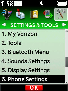 Settings and tools menu with focus on phone settings