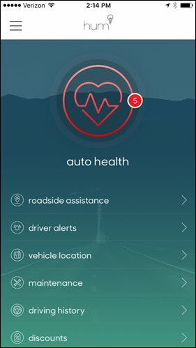 Hum main screen showing auto health