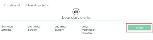 Delete boundary alert