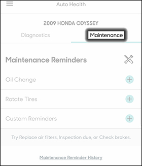 Tap the Maintenance Tab