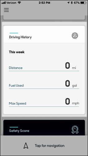 Driving History Dashboard card
