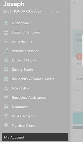 Account menu option