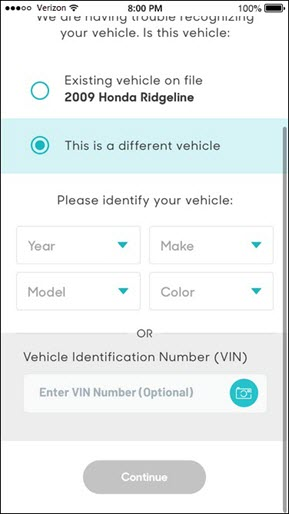 Enter vehicle info