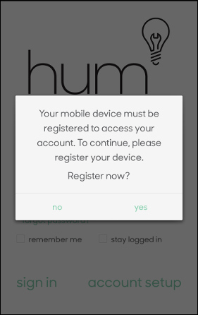 Register device pop-up