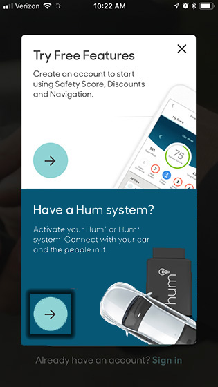 Hum app create/sign in