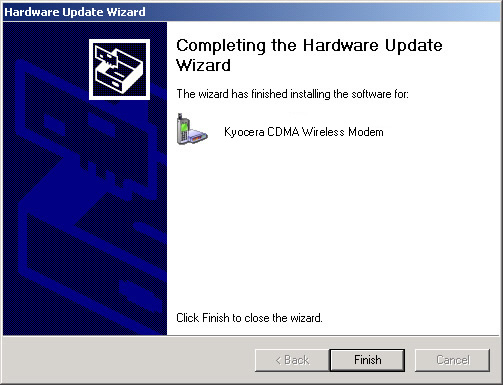 Hardware Update Wizard Complete screen