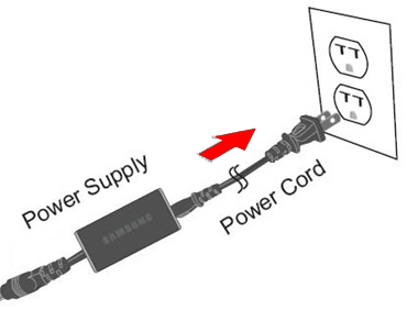 Connecting the power supply to a power outlet