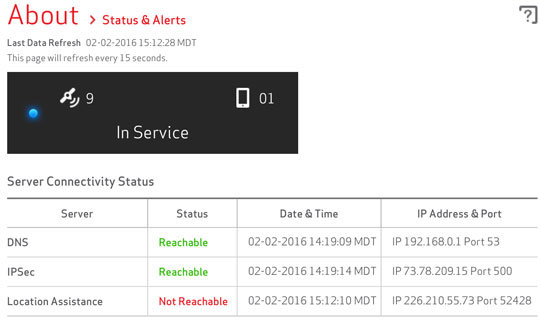 About status and alerts with current server connectivity status