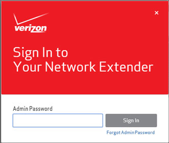 Network Extender sign in screen