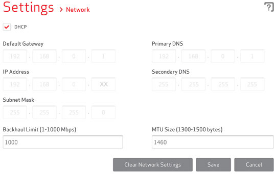 Settings - Network configured using DHCP