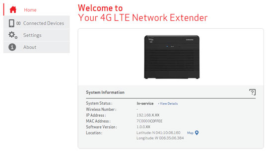 Network Extender Welcome page