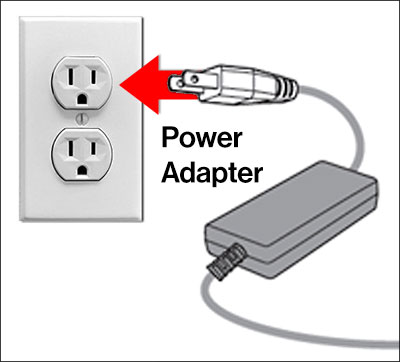 Power adapter plugging into outlet