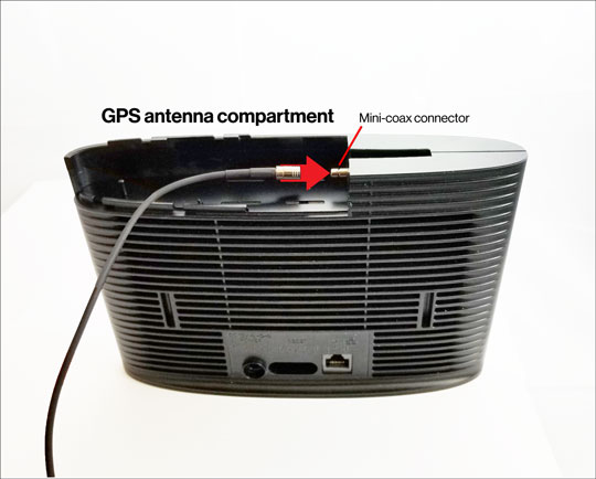 GPS antenna compartment and connection
