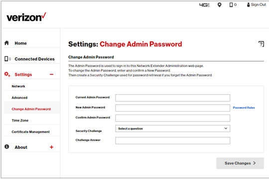Settings Password change screen