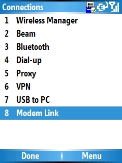 Image of the Modem Link Info screen