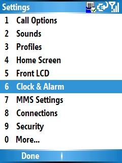Pantalla Settings y opción Clock & Alarm
