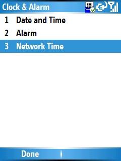 Pantalla Clock & Alarm y opción Network Time