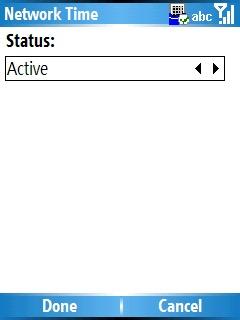 Network Time, opciones de Status