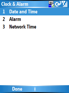 Image of the Clock & Alarm menu with Date and Time selected