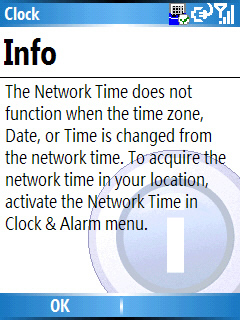 Image of the Clock Info screen