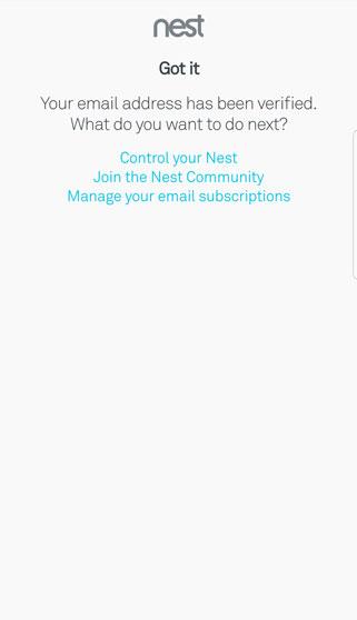 Nest verification confirmation screen