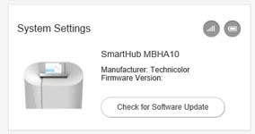 SmartHub dashboard system settings