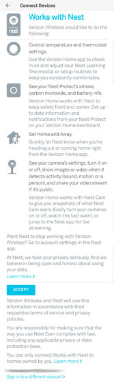 SmartHub app Connect Devices Works with Nest disclosure