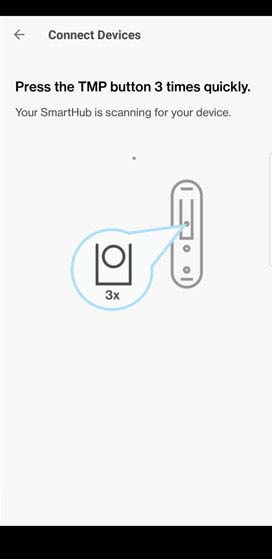 SmartHub app Connect Devices sensor door pairing