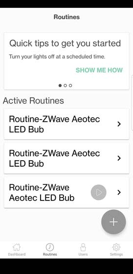 Verizon Home Routines tab