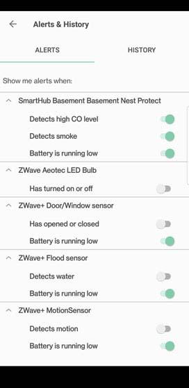 Verizon Home settings Alerts tab