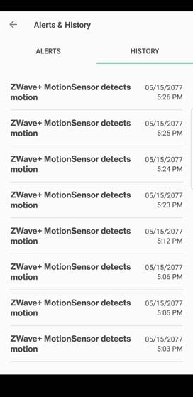 Verizon Home settings History tab