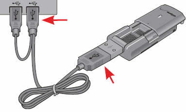 Y-cable connected to a USB port on a computer