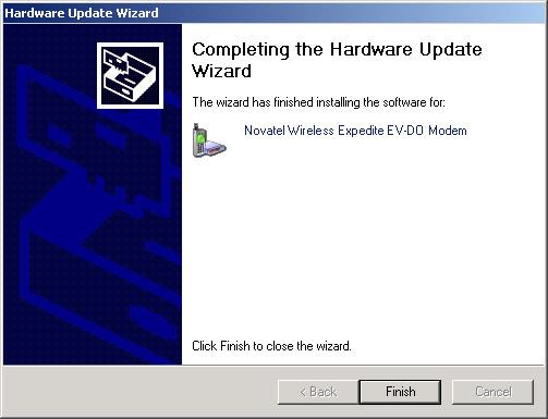 Pantalla de finalización del asistente de actualización de hardware